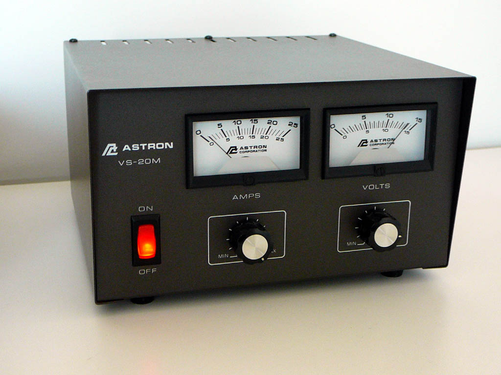 Astron Corporation VS-20M (1994)<br />Features separate Volt and Amp meters. Output Voltage adjustable from 1.8-14.8 Volts DC. Current limit adjustable from 1.5 Amp to full load. Continuous Duty 16A@13.8VDC, 9A@10VDC, 4A@5VDC. ICS 20A@13.8VDC. : Figure 43 :