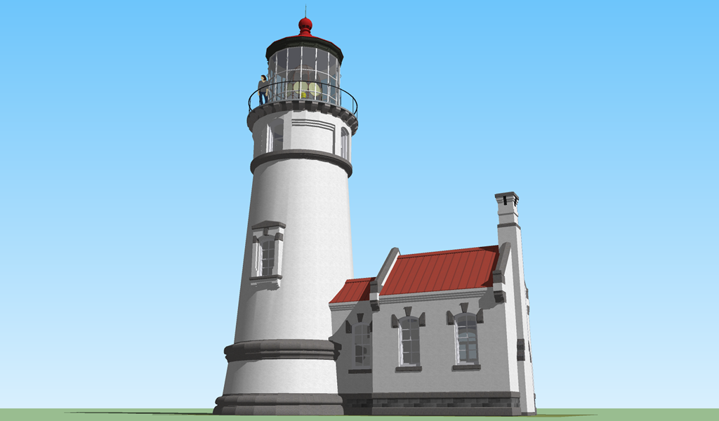 <b>Sketchup 8 MODEL 2</b> (2020) : Figure 123 : Heceta Head Lighthouse :