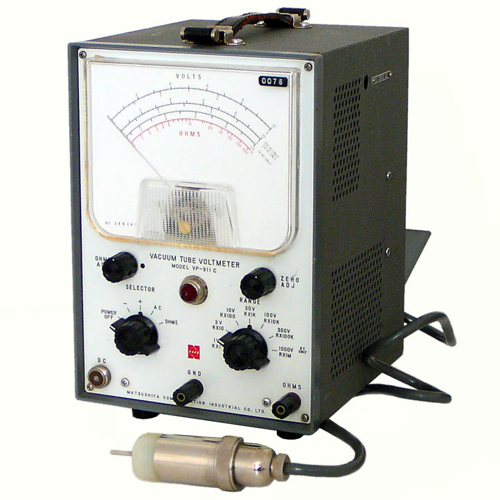 Matsushita Co. VP-911C (1965)<br />Vacuum Tube Volt Meter (VTVM) with RF Probe using an Eimac 2-01C UHF tube diode. The best way to directly measure voltage in high impedance circuits. : Figure 62 :