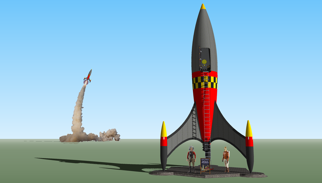 <b>Sketchup 8 MODEL 3</b> (2020) : Figure 122 : Retro Rocket Model :
